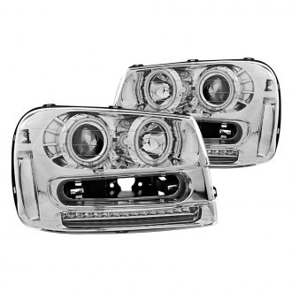 Anzo® - Chrome CCFL Halo Projector Headlights with LED Turn Signal/Parking Lights