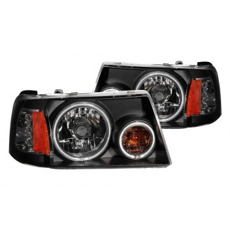 Anzo® - Black CCFL Halo LED Headlights with Amber Reflector