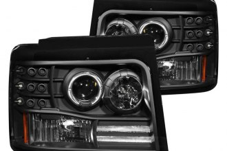 Anzo® - Black Halo Projector LED Headlights with Side Marker and Parking Lights