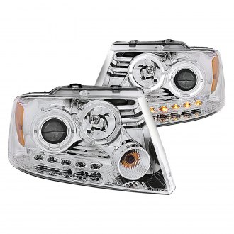 Anzo® - Chrome Dual Halo Projector Headlights with Parking LEDs