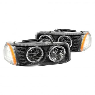 Anzo® - Black Halo Euro LED Headlights with Amber Reflector