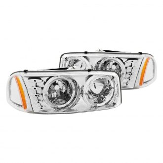 Anzo® - Chrome Halo Euro LED Headlights with Amber Reflector