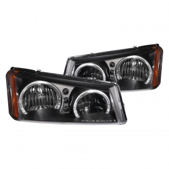 Anzo® - Black Dual Halo Euro LED Headlights with Amber Reflector