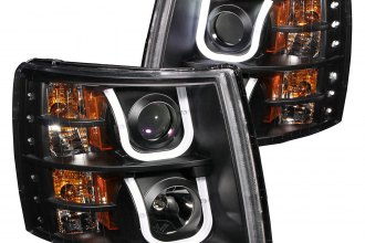 Anzo® - Black U-Bar Projector Headlights with LED DRL