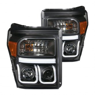 Anzo® - Black U-Bar Projector LED Headlights