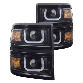 Anzo® - Black LED U-Bar Projector Headlights