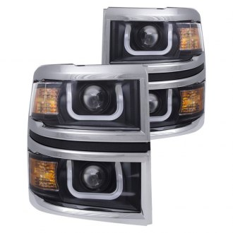 Anzo® - Black/Chrome LED U-Bar Projector Headlights