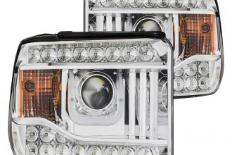 Anzo® - Chrome U-Bar Projector Headlights with LED DRL