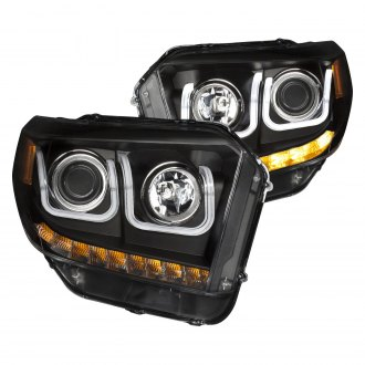 Anzo® - Black U-Bar Projector Headlights with LED Turn Signal