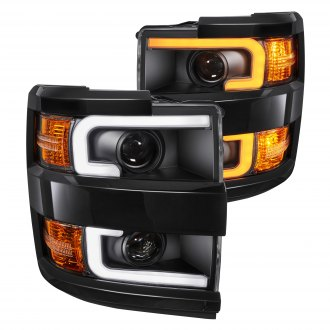 Anzo® - Black Switchback LED U-Bar Projector Headlights