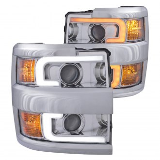 Anzo® - Chrome Switchback LED U-Bar Projector Headlights