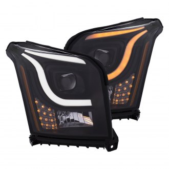 Anzo® - Black Switchback U-Bar Projector Headlights with LED Turn Signal