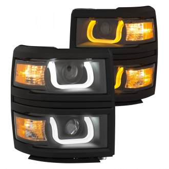 Anzo® - Black Switchback LED U-Bar Projector Headlights with Amber Turn Signal