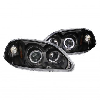Anzo® - Black Halo Projector LED Headlights with Amber Reflector