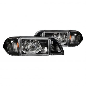Anzo® - Black Euro Headlights with Corner and Parking Lights