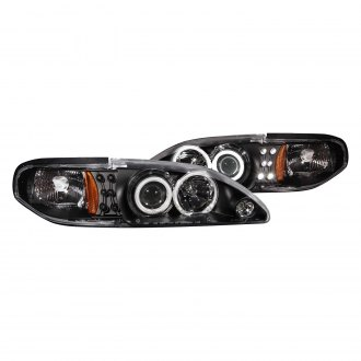 Anzo® - Black CCFL Dual Halo Projector LED Headlights with Amber Reflector