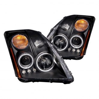 Anzo® - Black CCFL Halo Projector LED Headlights with Amber Reflector