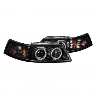 Anzo® - Black Halo Dual Projector LED Headlights with Amber Reflector