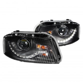 Anzo® - Black Projector Headlights with R8 Style LED Parking Lights