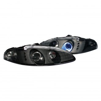 Anzo® - Black Dual Halo Projector Headlights with Parking LEDs