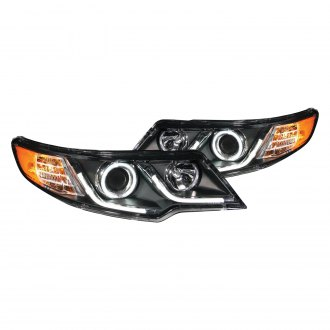 Anzo® - Black LED U-Bar CCFL Halo Projector Headlights