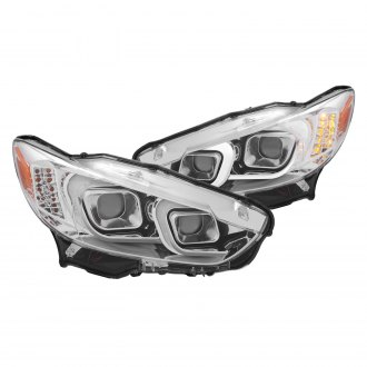 Anzo® - Chrome U-Bar™ Projector Headlights with Amber LED Turn Signal