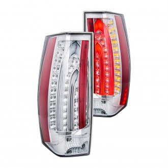 Anzo® - Chrome/Red Escalade Style Fiber Optic LED Tail Lights