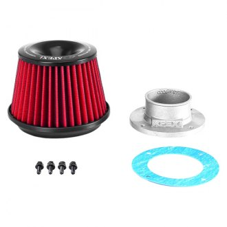 APEXi® - Power Round Straight Red Air Filter and Adapter Flange