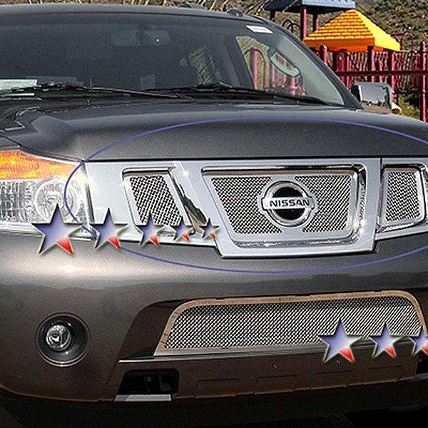 Apg Nissan Armada 2008 2015 3 Pc Chrome Wire Mesh Grille