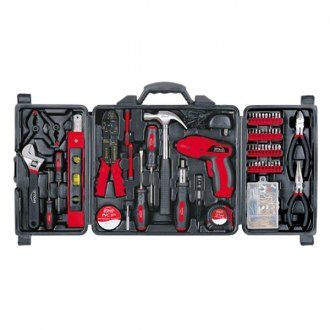 Apollo Tools® - 161 Pcs. Household Tool Kit with 4.8 Volt Rechargeable Cordless Screwdriver