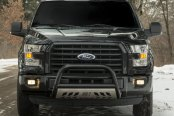 "Image may not reflect your exact vehicle! Aries® - 3"" Stealth Series Black Bull Bar with Polished Skid Plate Installed"