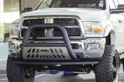 "Image may not reflect your exact vehicle! Aries® - 4"" Big Horn Black Bull Bar with Polished Skid Plate Installed"
