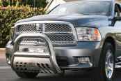 "Image may not reflect your exact vehicle! Aries® - 4"" Big Horn Polished Bull Bar with Polished Skid Plate Installed"