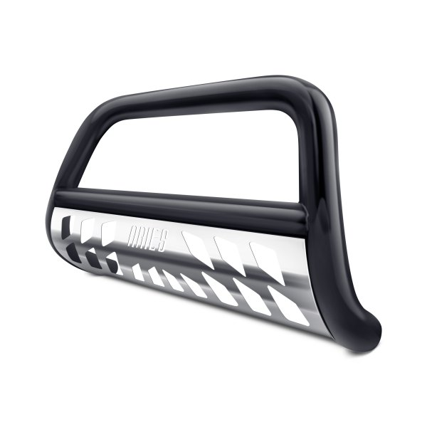 "Aries® - 3"" Black Bull Bar with Polished Skid Plate"