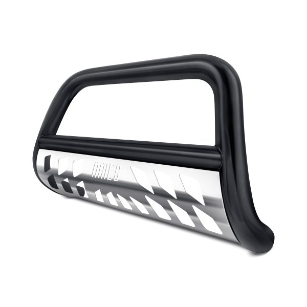 "Aries® - 3"" Stealth Series Black Bull Bar with Polished Skid Plate"