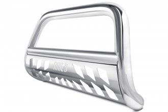"Image may not reflect your exact vehicle! Aries® - 4"" Big Horn Polished Bull Bar with Polished Skid Plate"