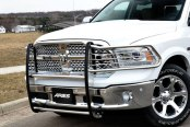 Image may not reflect your exact vehicle! Aries® - Polished 1-Piece Design Grille Guard Installed