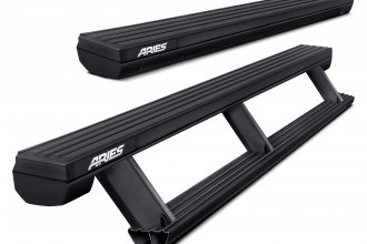"Aries® - 3.3"" ActionTrac™ Retractable Cab Length Black Running Boards"
