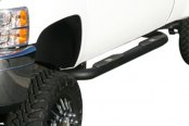 "Aries® - 4"" Big Step Black Powdercoated Round Side Bars, Installed"