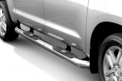 "Image may not reflect your exact vehicle! Aries® - 4"" Big Step Stainless Steel Round Side Bars"