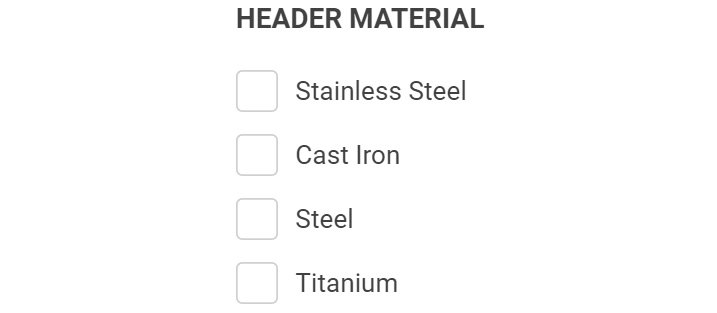 Headers Material Types