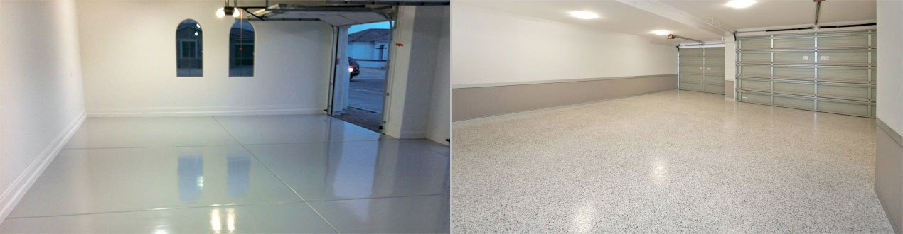 Finished Garage Floor With Without Decorative Color Flakes