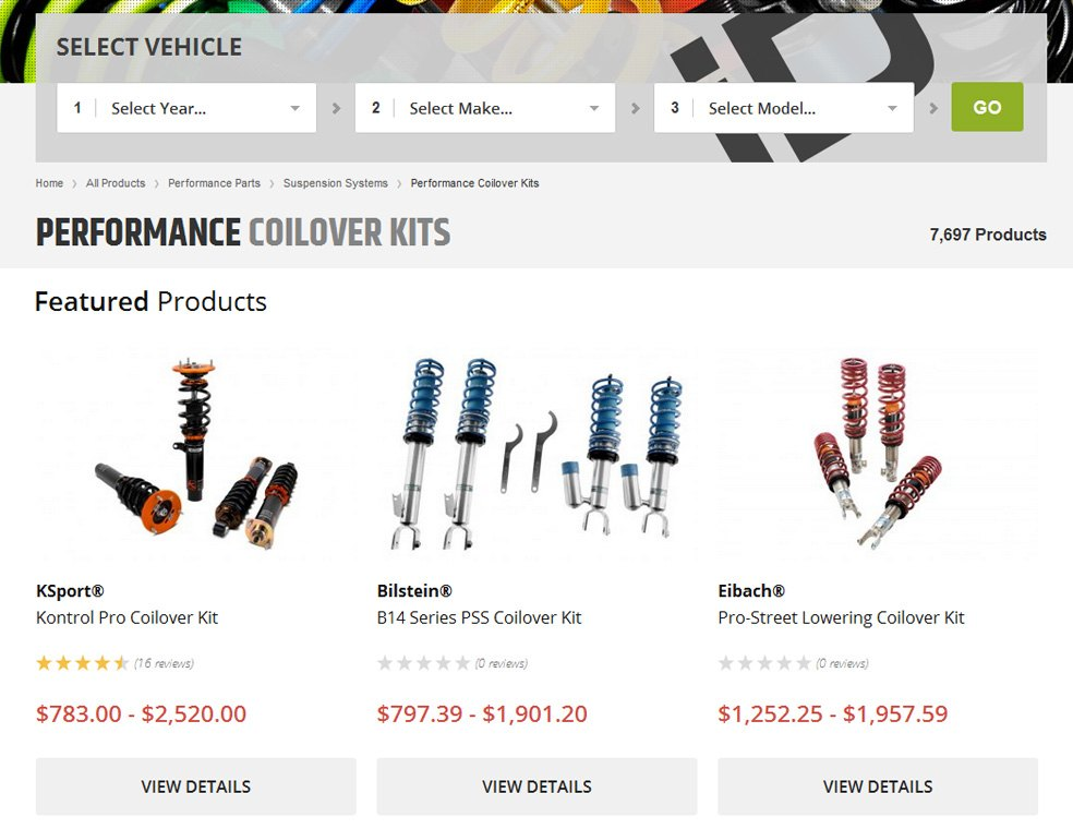 Performance Coilover Kits Page