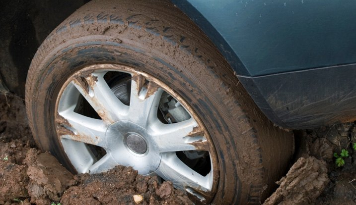 Wheel Stuck In Mud