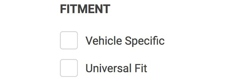 Fitment Checkboxes For Universal / Direct-Fit Exhaust Components