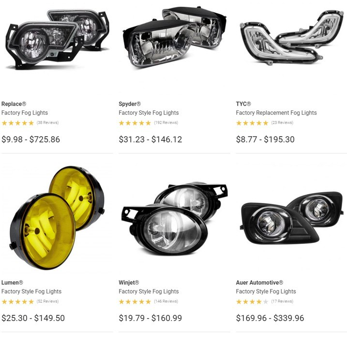 Fog Lights Product Options