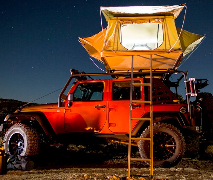 Automotive Tent Installed On Roof Of JK