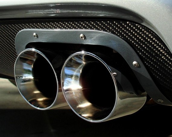 Exhaust Tip Wrapped In Carbon Fiber