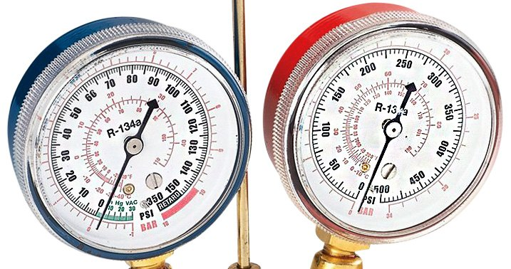 A closeup of a typical a/c manifold gauge set