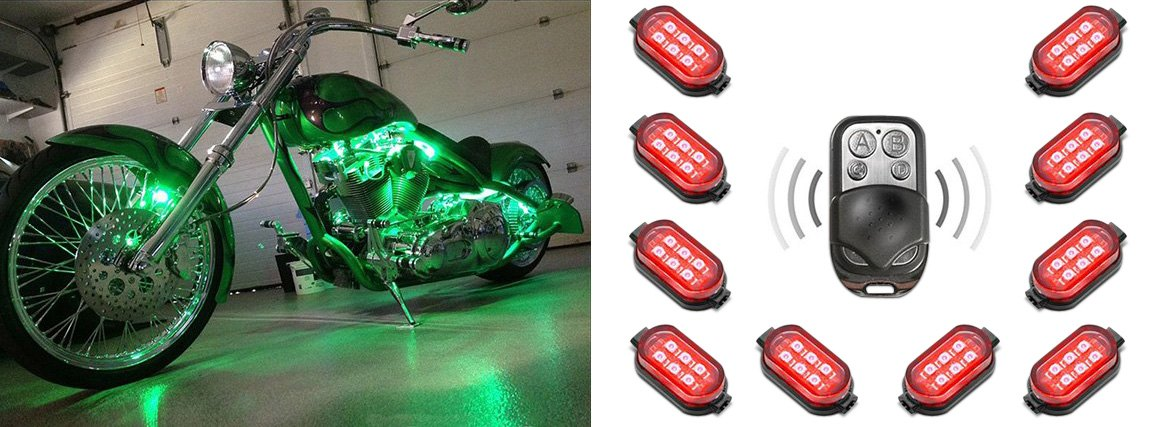 XKGlow Single Color Motorcycle Underglow LED Pod Kit